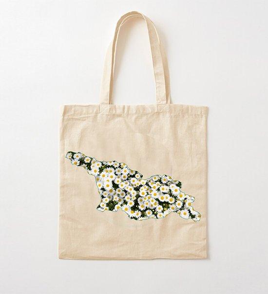 საქაღტველო- გვირილებით-ტილოს ჩანთა